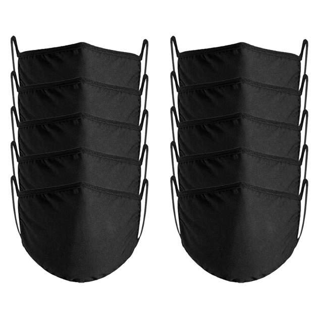 Многоразовая маска Nuobi Сotton Windproof черная 10 шт.