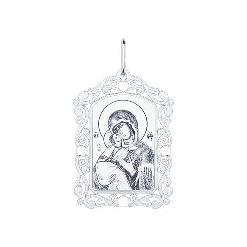 Серебряная нательная иконка с ликом Божьей Матери Владимирской SOKOLOV 94100228