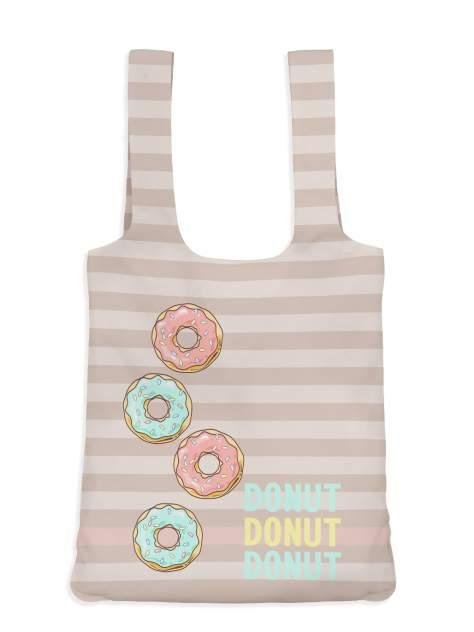 Пляжная сумка 40х43 Пончики роз sfer.tex 1746234 бежевая