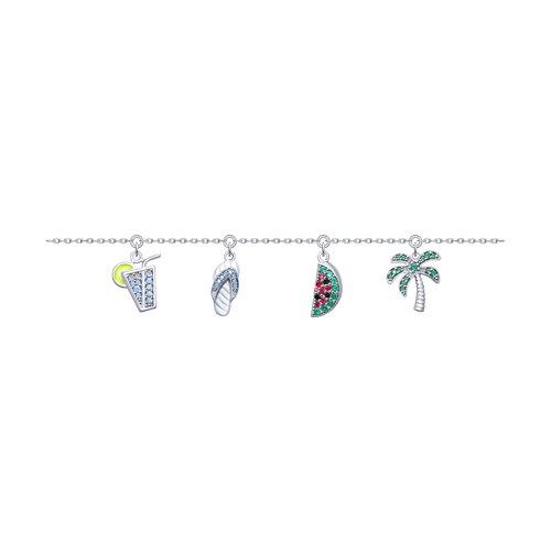 Браслет женский SOKOLOV из серебра с эмалью и фианитами 94050474 р.17