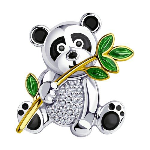 Брошь SOKOLOV из золочёного серебра с эмалью и фианитами 94040176
