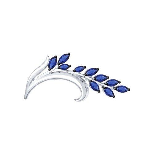 Брошь SOKOLOV из серебра с синими фианитами 94040100