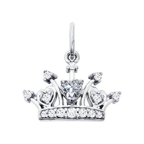 Серебряная подвеска «Корона» с фианитами SOKOLOV 94031215
