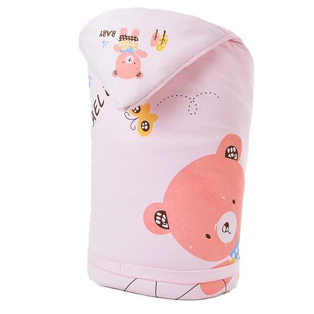 Одеяло-конверт Baby Fox Мишка, зимнее, розовое, 100х100 см