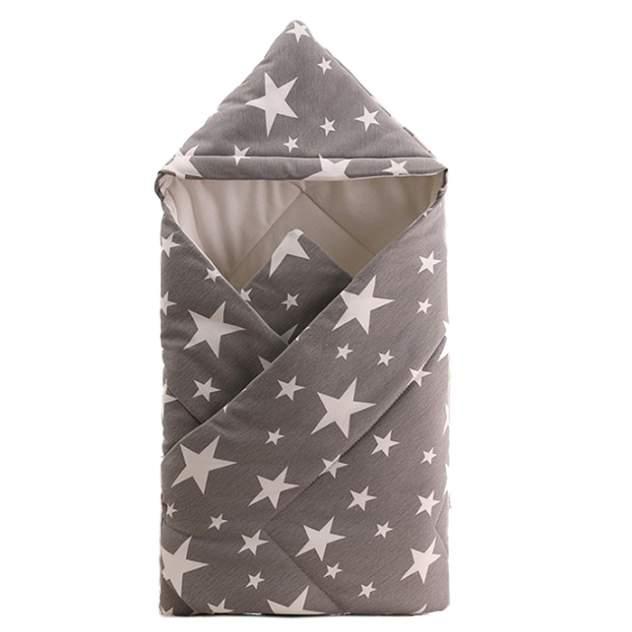 Одеяло-конверт Baby Fox Звезды, осеннее, цвет серый, 90х90 см