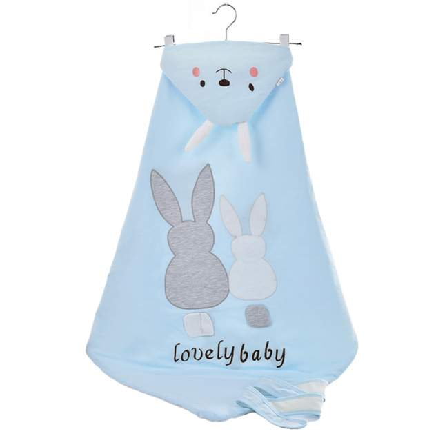 Одеяло-конверт Baby Fox Зайчик, весеннее, цвет голубой, 90х90 см