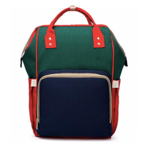 Сумка-рюкзак для мам Anello синяя с зеленым