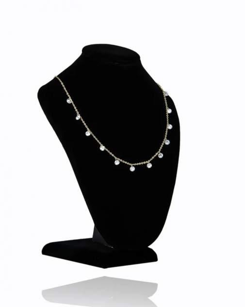 Ожерелье из бижутерного сплава со стразами 47 см Daroni Капли росы