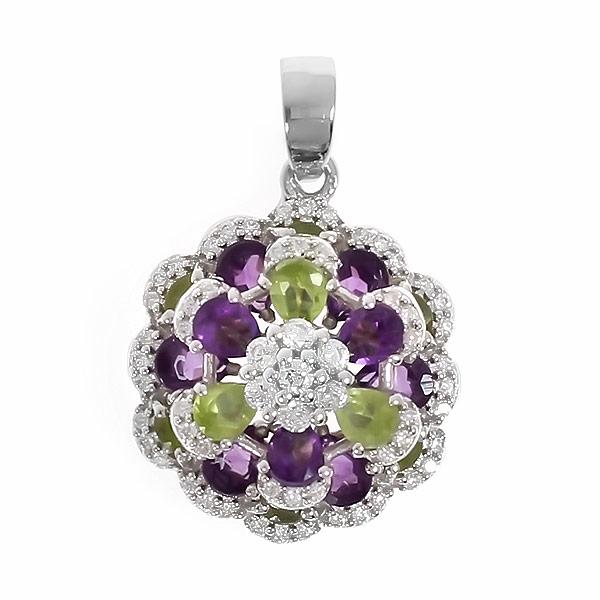 Подвеска женская Balex Jewellery 3410931201 из серебра, аметист/хризолит