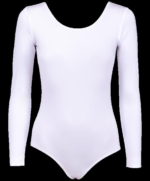 Купальник гимнастический Amely AA-142, с длинным рукавом, полиамид, белый (36-42) - 38