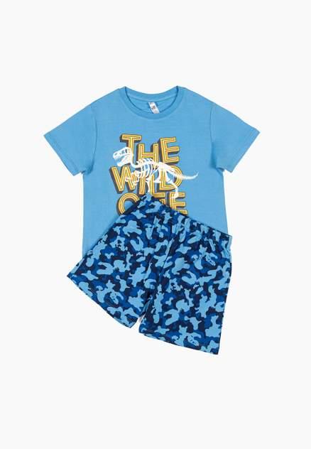 Пижама (топ и шорты) для мальчиков Modis цв. голубой р.104-110