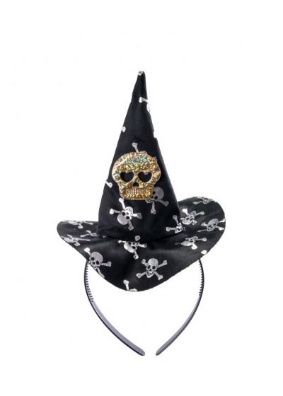 Шляпка ведьмы на ободке Череп цв Черный-Серебряный/АРТЭ/6197