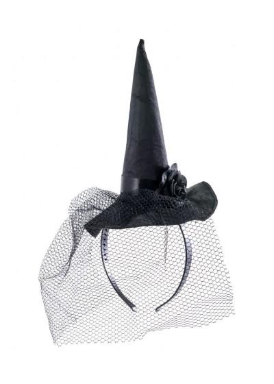 Шляпка Ведьма на ободке с вуалью цв Черный/АРТЭ/6192