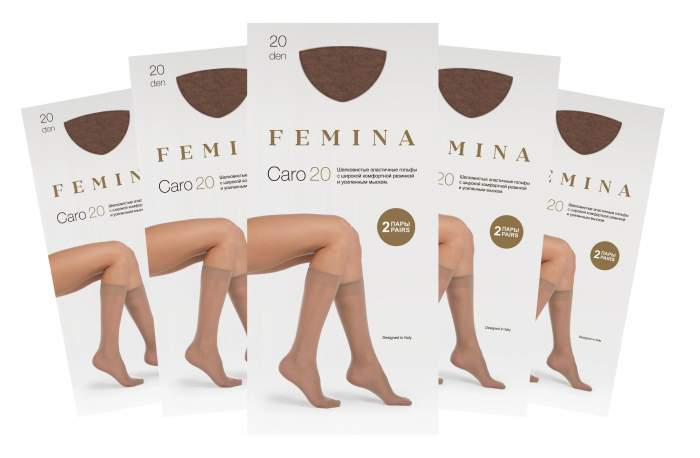 Набор гольфов женских FEMINA Caro 20 бежевых one size
