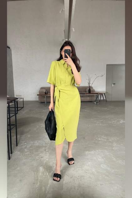 Платье-рубашка женское ZARINA 1225241541 зеленое 42 RU
