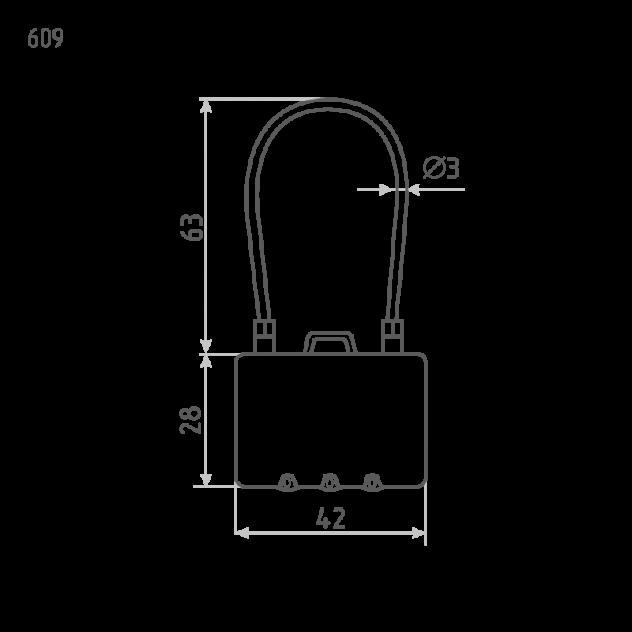 Замок навесной кодовый Нора-М 609 для чемодана - Синий - 42 мм