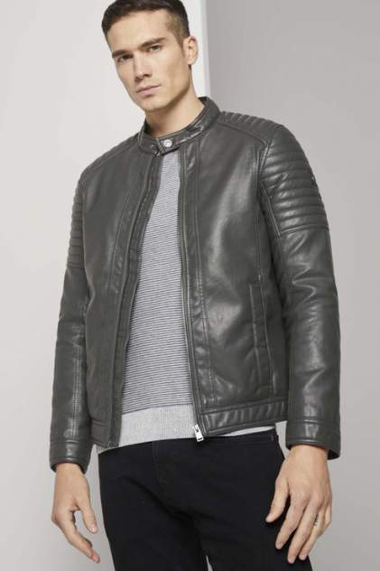 Мужская кожаная куртка TOM TAILOR 1023172, серый
