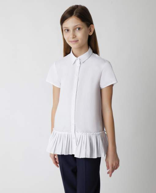 Белая блузка с коротким рукавом Gulliver 220GSGC2212, размер 152