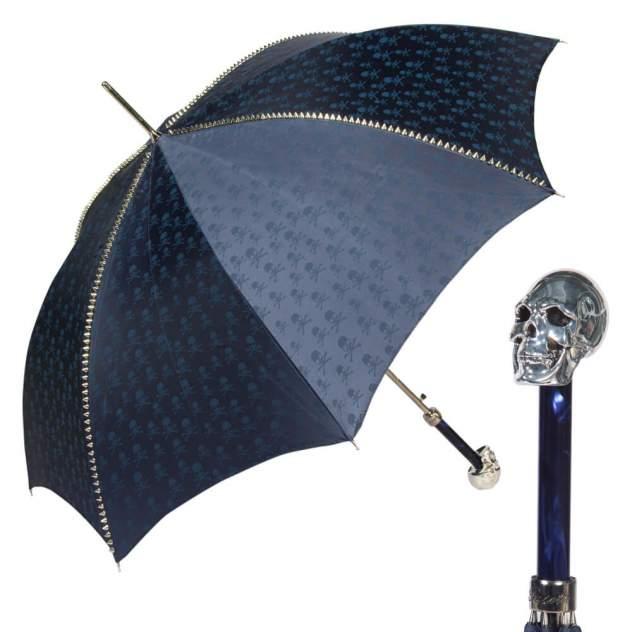 Зонт-трость унисекс полуавтомат Pasotti Capo Silver Picco Sculls Blu синий/серебристый