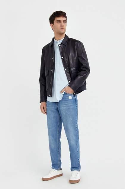Кожаная куртка мужская Finn Flare B21-21801 синяя XL