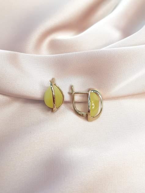 Серьги женские из серебра SamoroDki Jewelry 2200081з с янтарем лимон