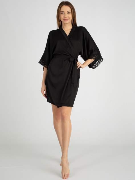 Шелковый халат женский Giulia HELENA 7212/051, черный