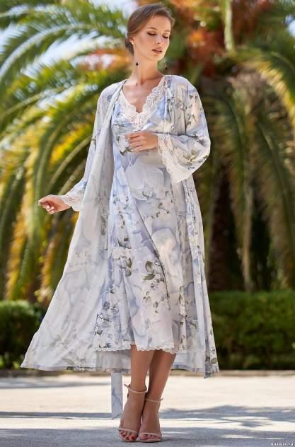 Шелковый халат женский Mia-Amore 3609, голубой