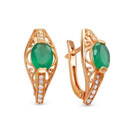 Серьги женские из серебра SamoroDki Jewelry 00301сз07 агат/фианит