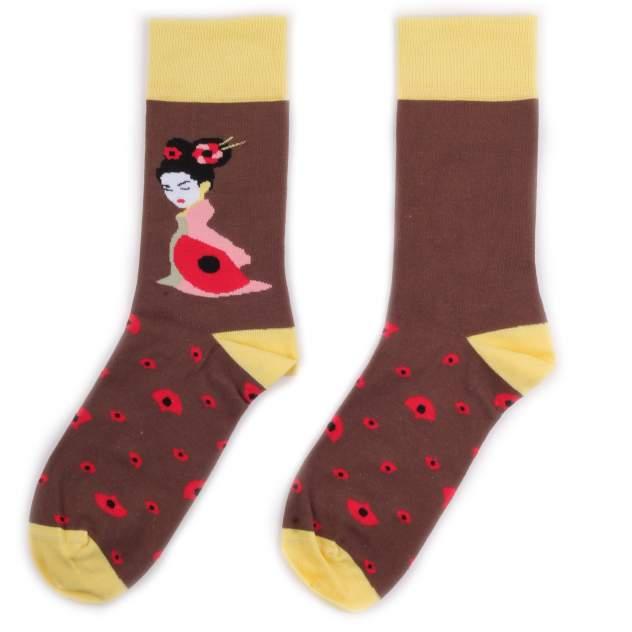 Носки унисекс Burning heels BH_GeishaYellowBrown коричневые 39-41 RU