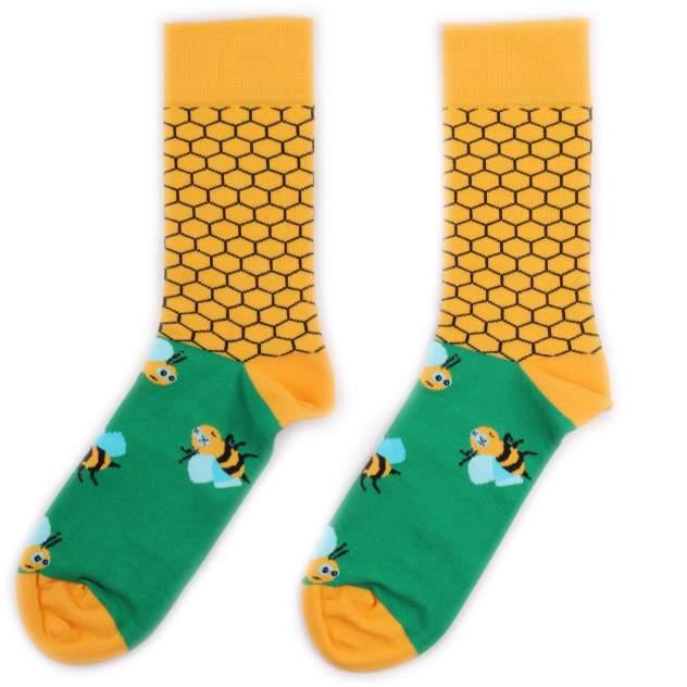Носки унисекс Burning heels BH_BeesGreenYellow разноцветные 42-46 RU