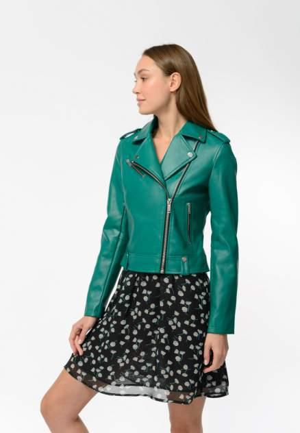 Кожаная куртка женская Modis M202W00016R581F77 зеленая 44