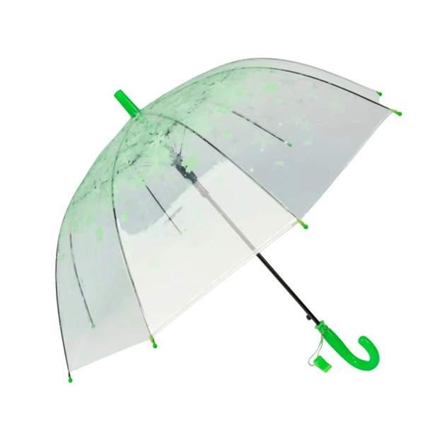 Зонт детский YuZont для девочек с лепестками цветов сакуры прозрачный зеленый