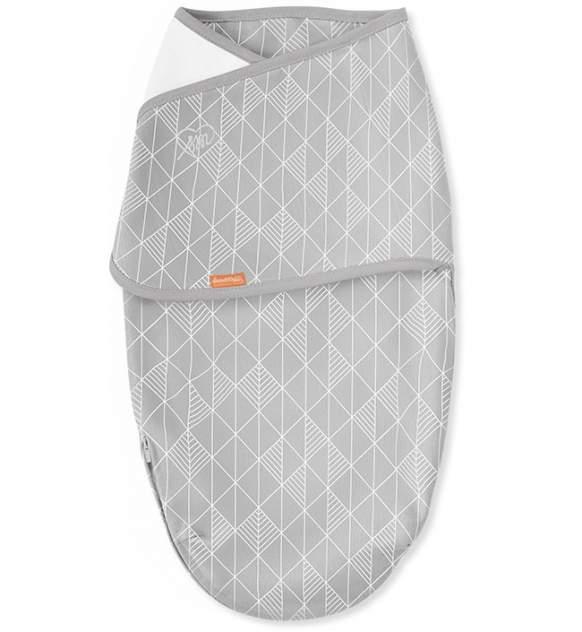 Конверт для пеленания на липучке SwaddleMe Luxe Whisper Quiet, размер S/M, серый узор