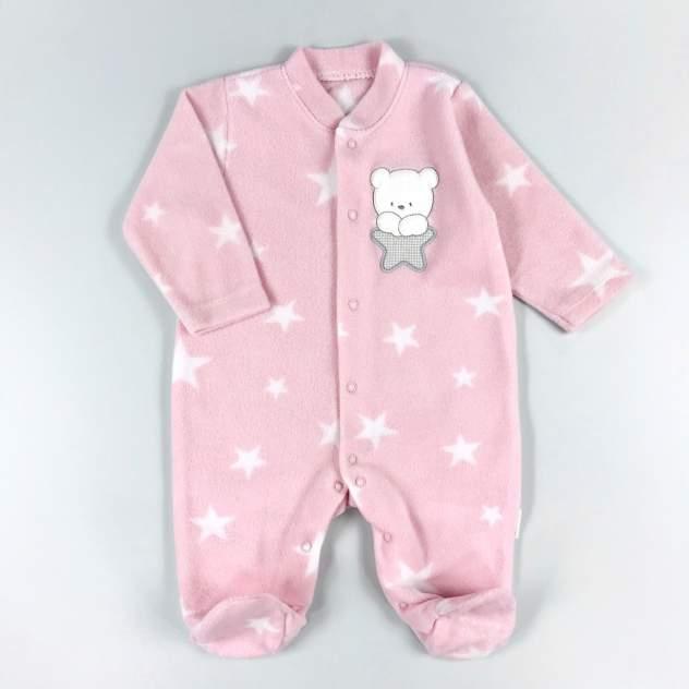 Комбинезон флисовый Twetoon Медвежонок со звёздочкой розовый р.56