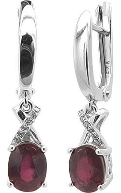 Серьги женские Evora 629046-e из серебра, рубин/цирконий