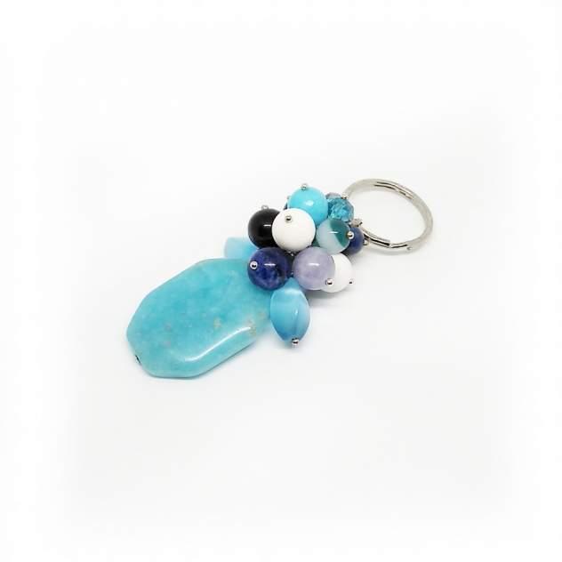Брелок для ключей ИП Шуркова 01.01mix с камнями синий/голубой
