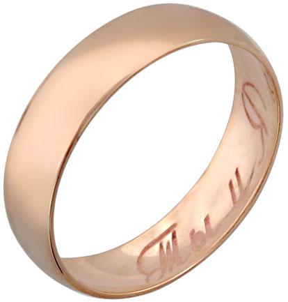 Кольцо унисекс Эстет 01O010165 из красного золота, р. 15.5