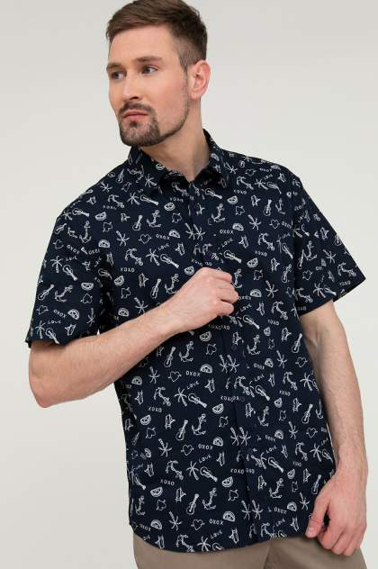 Рубашка мужская Finn Flare S20-24015, синий