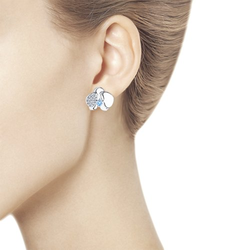 Серьги женские из серебра SOKOLOV 94023571, фианит