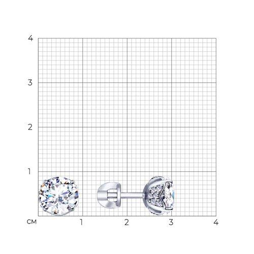 Серьги женские из серебра SOKOLOV 94023210, фианит