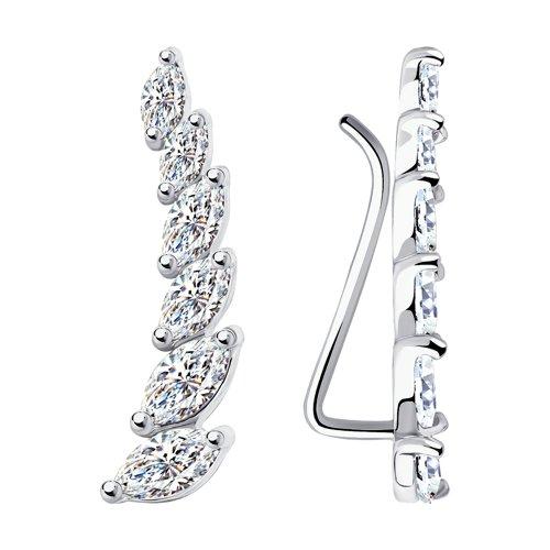 Серьги женские из серебра SOKOLOV 94021890, фианит
