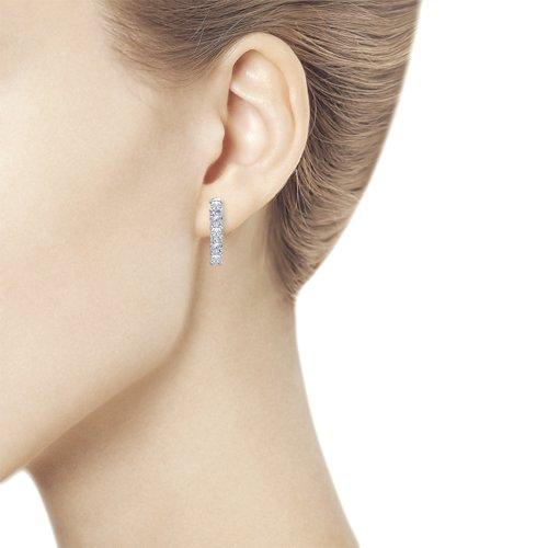 Серьги женские из серебра SOKOLOV 94021707, фианит