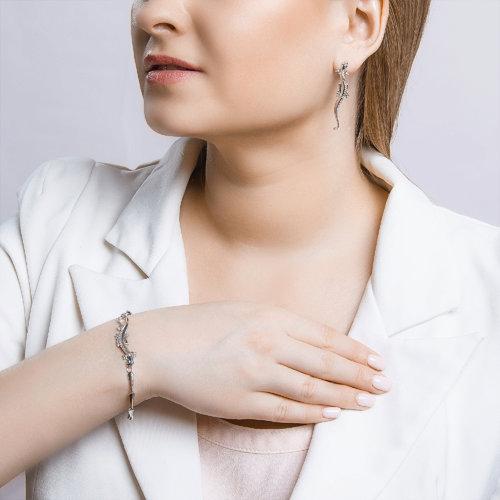 Серьги женские из серебра SOKOLOV 94021399, фианит
