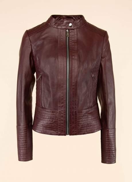 Кожаная куртка женская Каляев 1593826 бордовая 46