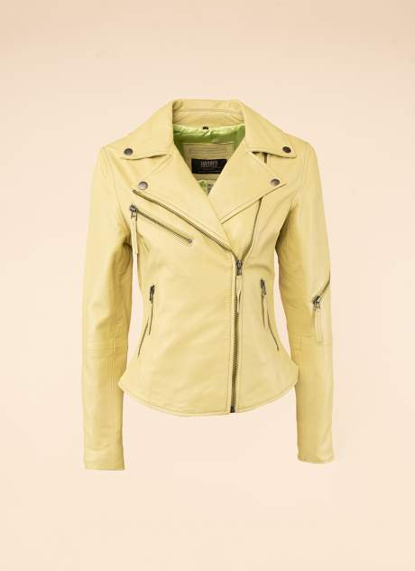Кожаная куртка женская Каляев 1594233 желтая 42