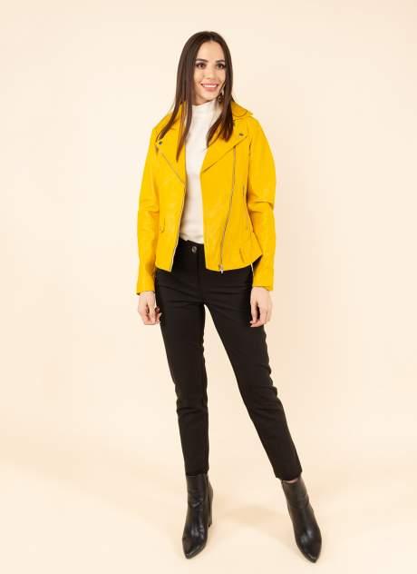 Кожаная куртка женская Каляев 1594255 желтая 44