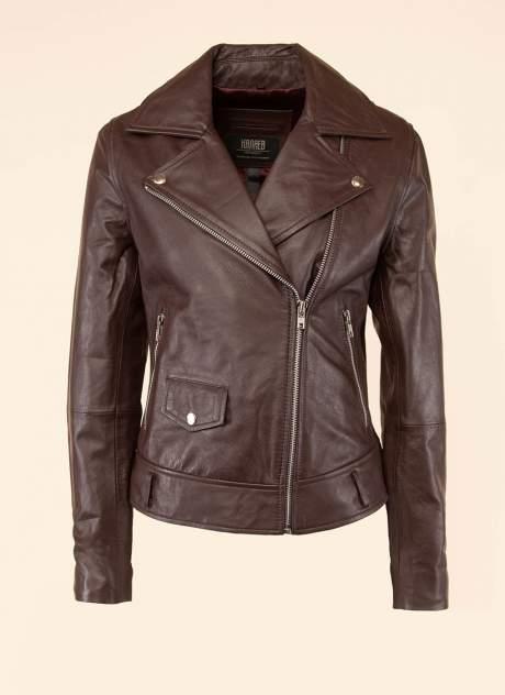 Кожаная куртка женская Каляев 1594255 коричневая 54
