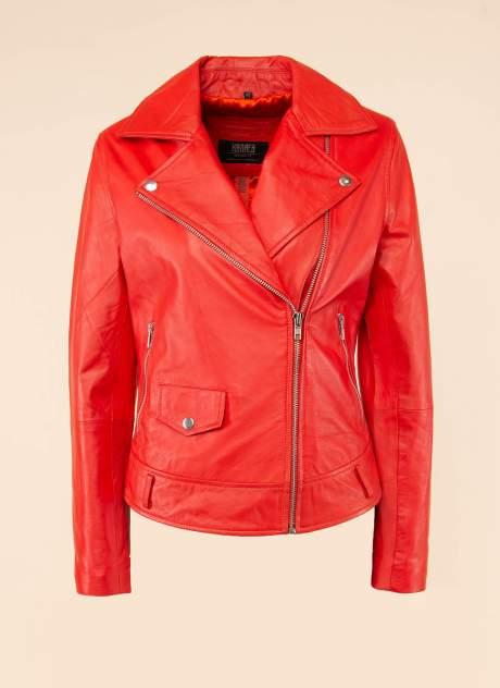 Кожаная куртка женская Каляев 1594255 красная 44