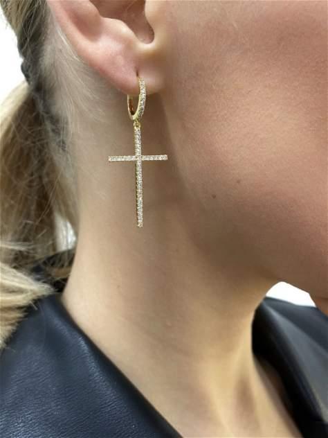 Серьги женские Millsy E00182-230-P14G крестики с камнем  золотистые