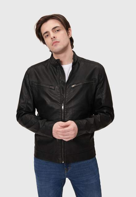 Мужская кожаная куртка Modis M211M00551, черный